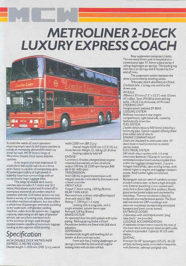 1987 MCW Metro Double Decker Tour Bus Brochure Cummins wo5189-X3V9BH