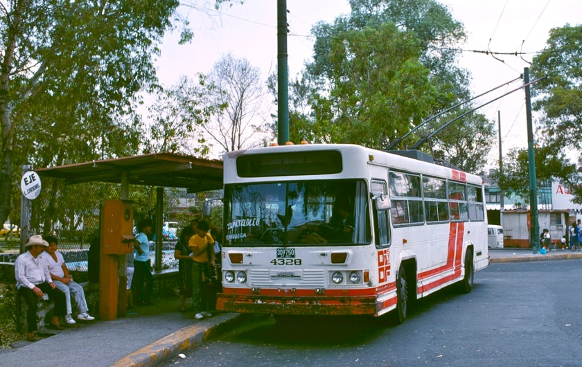 Mex City - trolleybus line A's Tasqueña term. in 1990