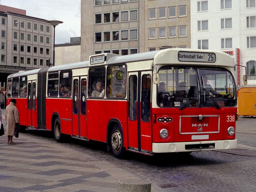 81 VÖV-I-Bus MAN SG 192 der BSAG Bremen, Aufnahme Ende der 1980er Jahre