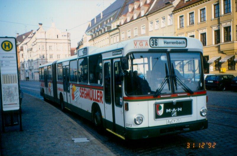 85 Standard-Gelenkbus MAN SG 240 H in Augsburg 1992