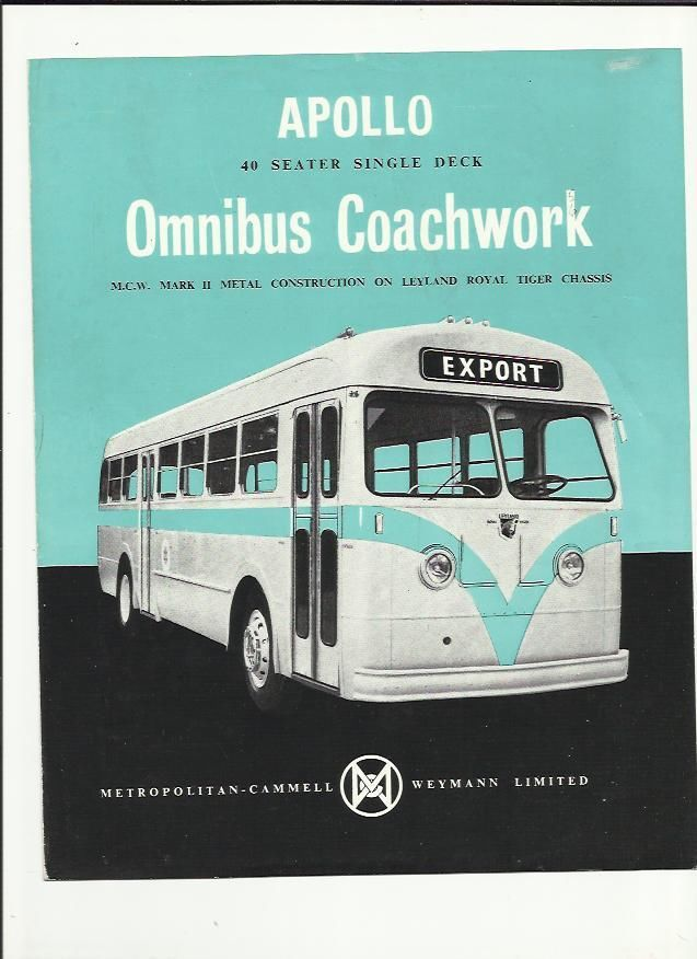 APOLLO OMNIBUS MCW LEYLAND ROYAL TIGER BUS COACH SALES BROCHURE 1956