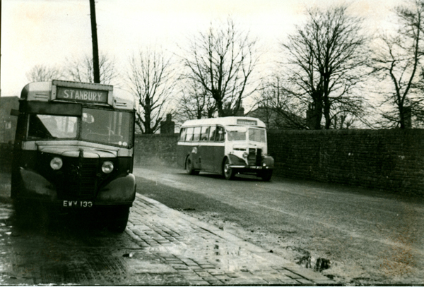 Bedford OB Utility bus and a 29 seater Bedford OB with Mulliner body Outside Garage1