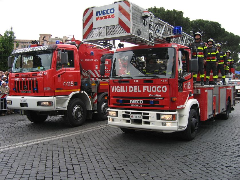 Italian Fire Service vehicles with an Astra crane on the left and a Magirus turntable ladder on the right, Army Parade in Rome, 2 June 2006.