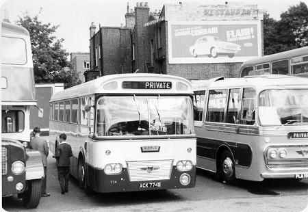 Marshall DP49F. Odd man out in the Ribble fleet for over ten years was the first production Leyland Panther ACK774B lr