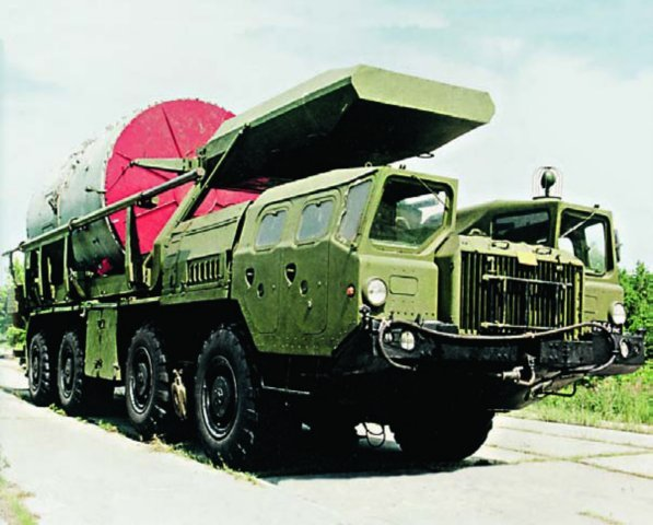 MAZ-543А chassis with TUAP-2 transport container installer
