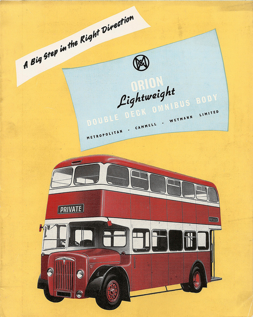 MCW Orion Lightweight bus body - sales brochure issued by Metropolitan-Cammell-Weymann, 1956