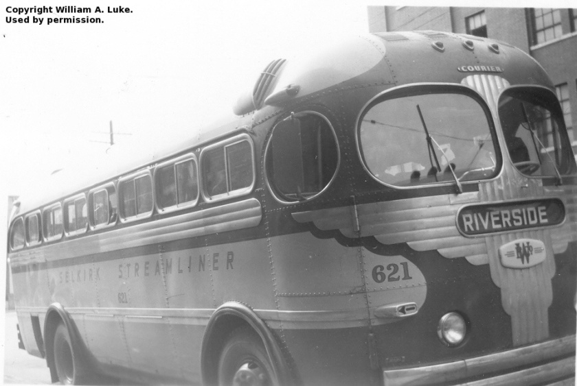 Riverbend Bus Line 1, an MCI coach, waits at the Winnipeg bus depot to depart south for a 28 km run to St. Adolphe, circa 1947