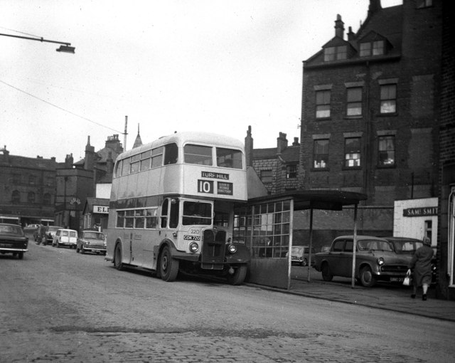 Rochdale Corporation bus 220 AEC Regent III Weymann GDK 720 in Rochdale, Lancashire 7 March 1964