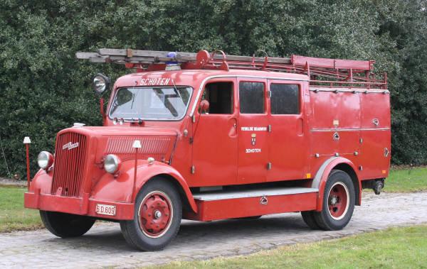 1939 formal German Feuerschutzpolizei Opel Blitz pumper with Magirus bodywork