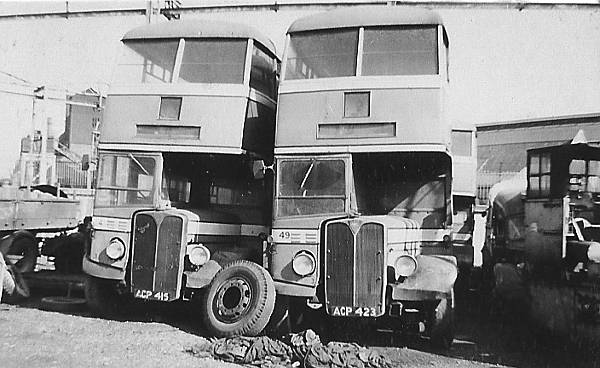 1947 AEC Regents 41, ACP415 and 49, ACP423 (new 1948) AEC Regent III with Park Royal 56 seat bodies