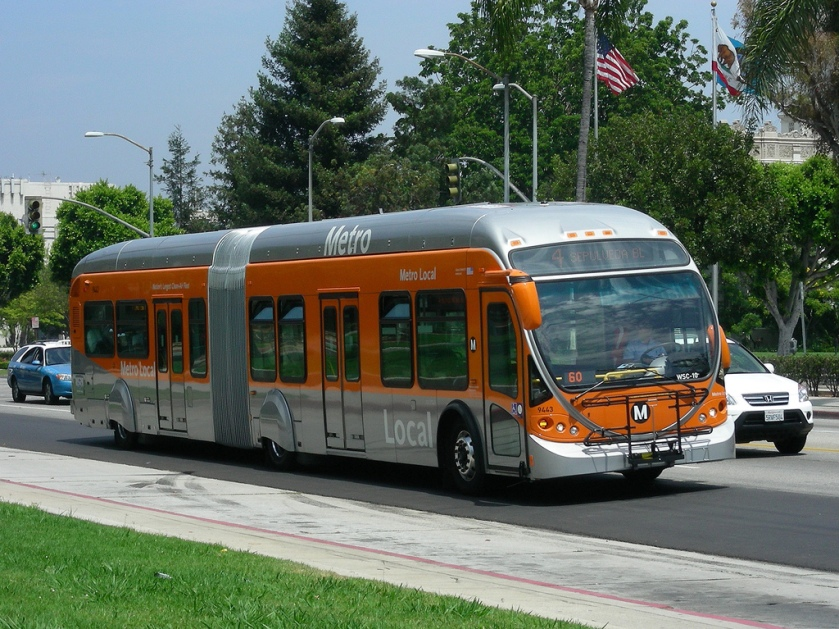 NABI articulated natural gas-powered bus on LA Metro's Line 4 on Santa Monica Blvd. in Beverly Hills