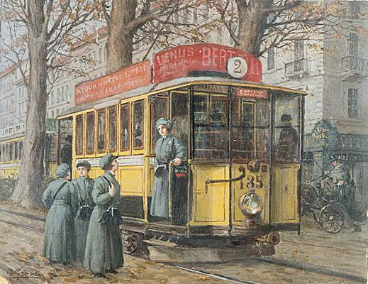1914 Ragheno Grossi Femmes conduisant un tramway en 1914 à Milan