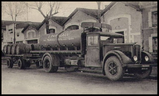 1934 RENAULT UDD camion et remorque pinardier, citerne amovible