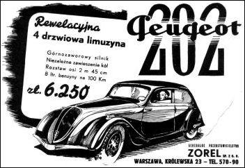 1938 peugeot 202 reklama polska