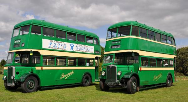 1942 AEC Regent with Park Royal body dating from 1936 and Provincial 55, EHO228, a Guy Arab I with Reading body dating from 1942