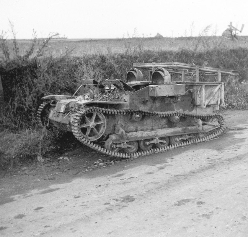1944 A French Renault UE carrier by the side of a road, abandoned by German forces