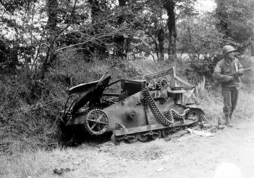 1944 Destroyed german Renault UE and american soldier. France, summer 1944
