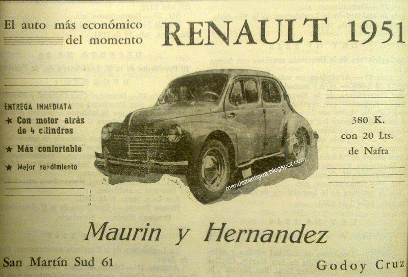 1951 Publicidad Gráfica de RENAULT 1951. Mendoza