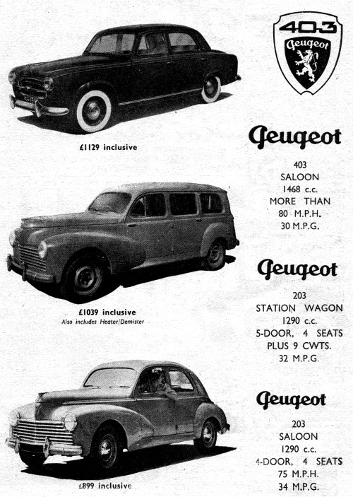 1955 peugeot autocar ad