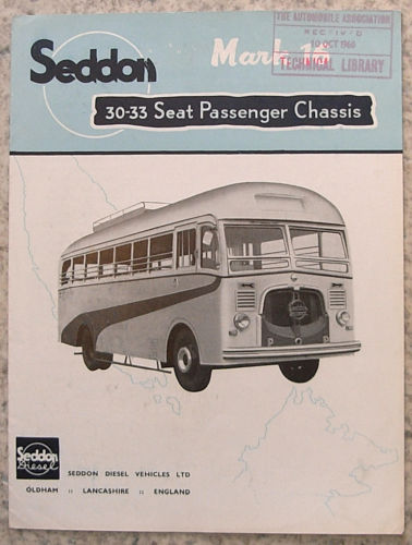 1960 SEDDON Mk 16 30-33 Seat PASSENGER CHASSIS Brochure 1960