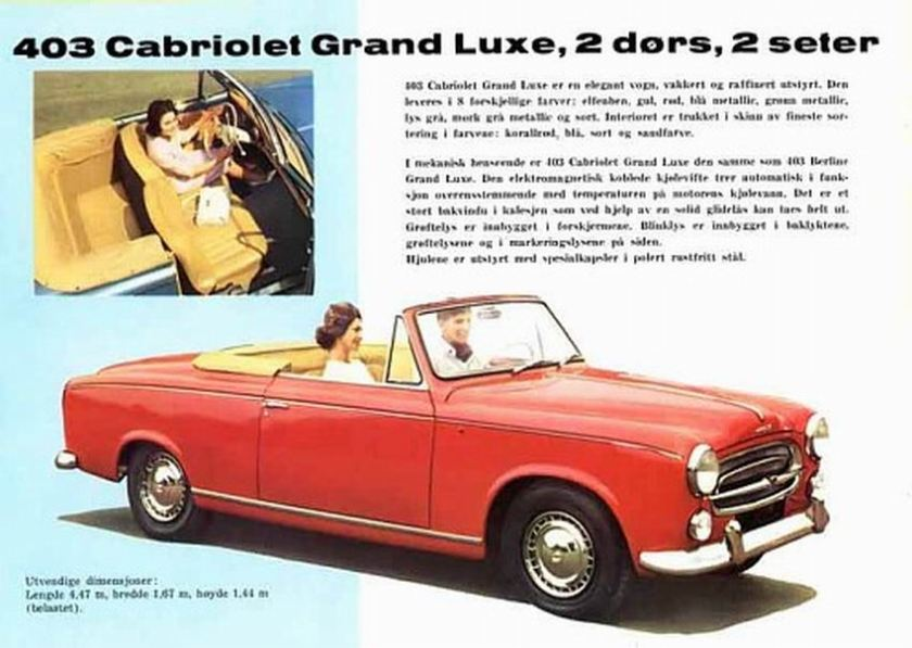 1961 Peugeot 403 Cabriolet Grand Luxe