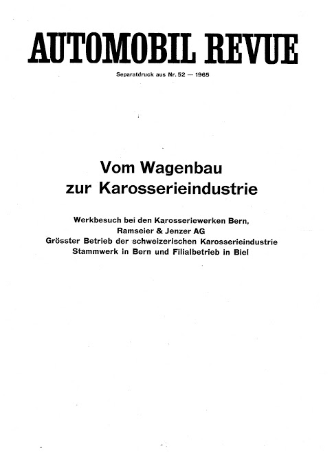 1965 RAMSEIER+JENZER (CH) Automobil Revue