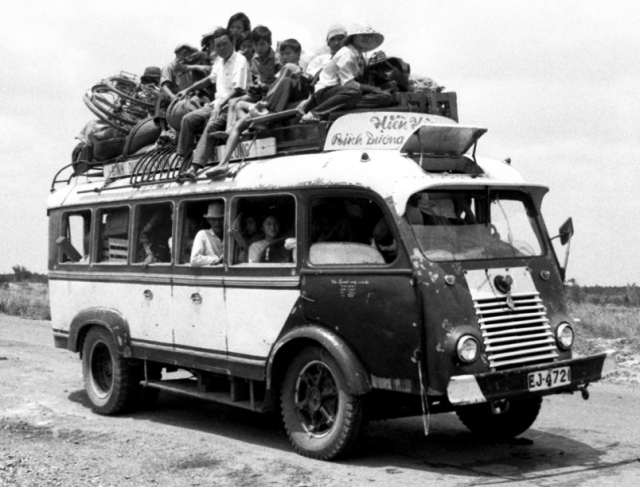 1972 Overcrowded Renault Bus in Vietnam
