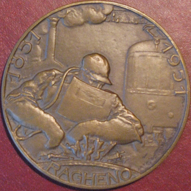 Penning-medal 100 years Usines Ragheno in Belgium. 1851-1951