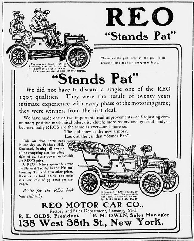 1906 REO Motor Ad