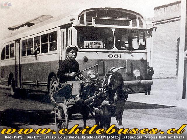 1947 Reo Bus Emp Transp colectivod el Estado Ex ENT Santiago