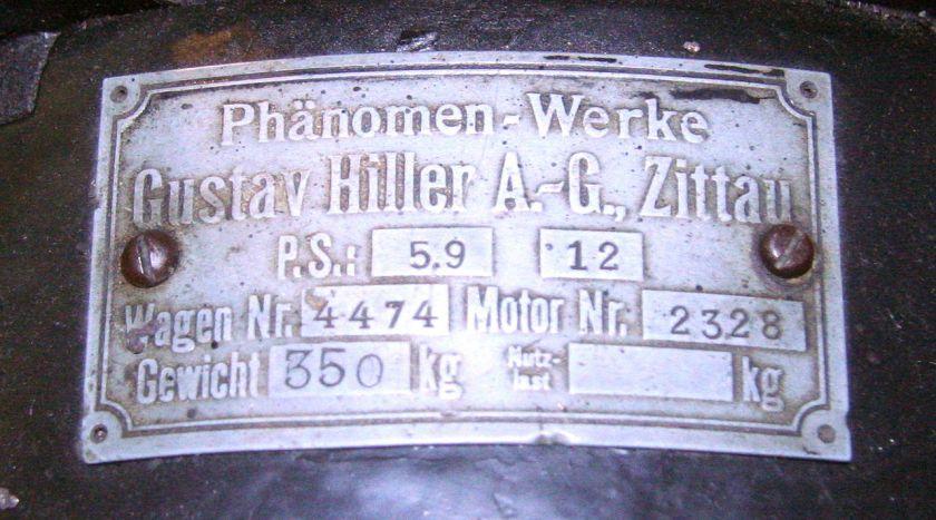 Phaenomobil Zn Typenschild