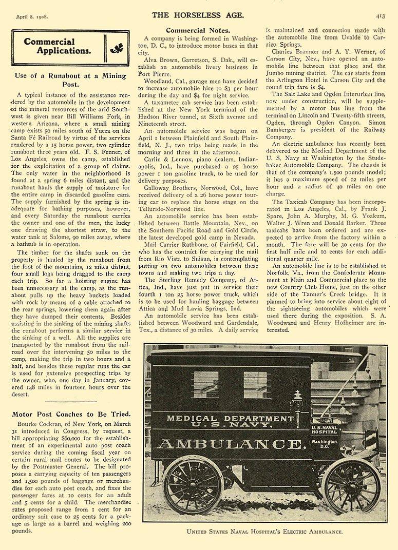 1908 STUDE Elec 4 8 p 413 truck XX