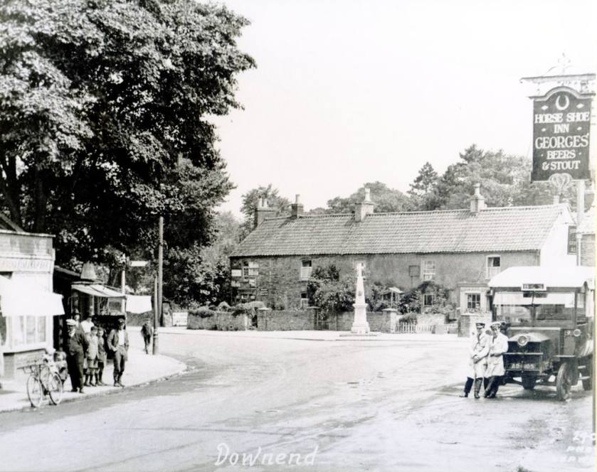 1913 view of Downend village an early Bences motor bus from Longwell Green