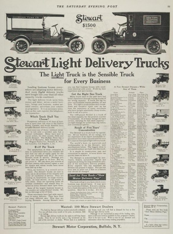 1914 Stewart Motor Corporation Light Truck Ad 1914