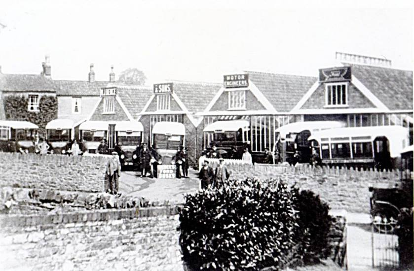 1920s view of early Ford Buses, Bence & Sons garage