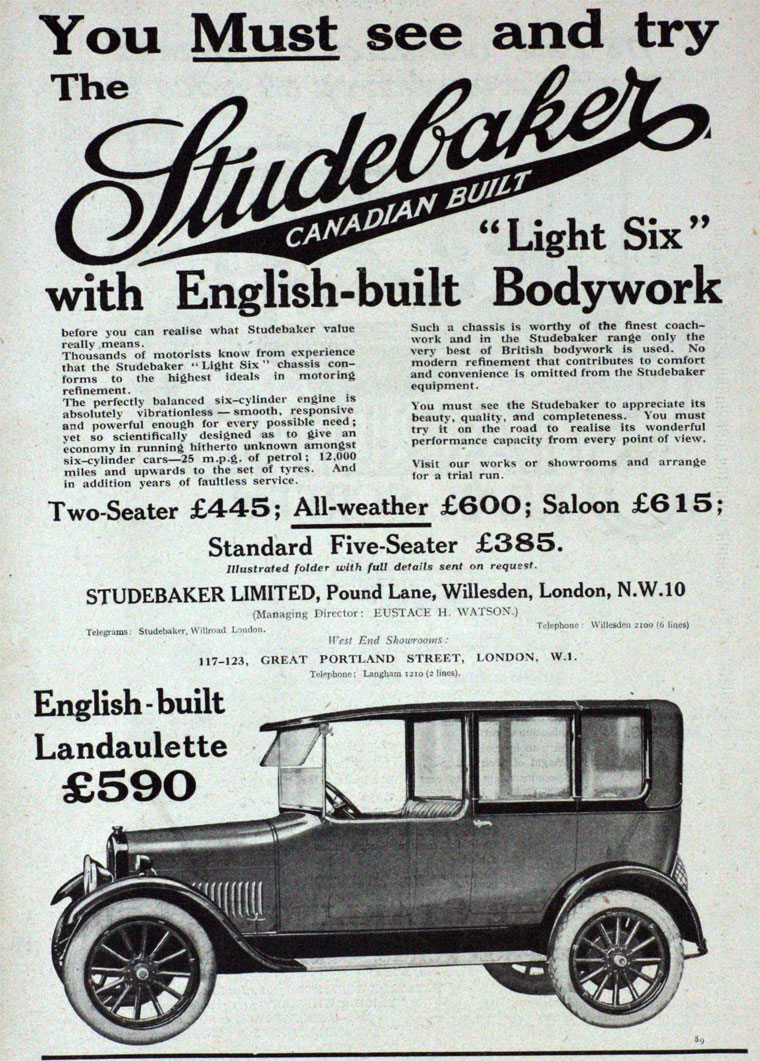 Studebaker E M F Erskine Rockne South Bend Indiana Usa 1852 4 6 2001 Lincoln Town Car Engine Pully Diagram 1923