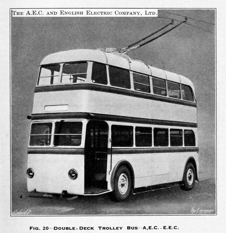 1933.Double Deck Trolley Bus AEC and E. E. C.