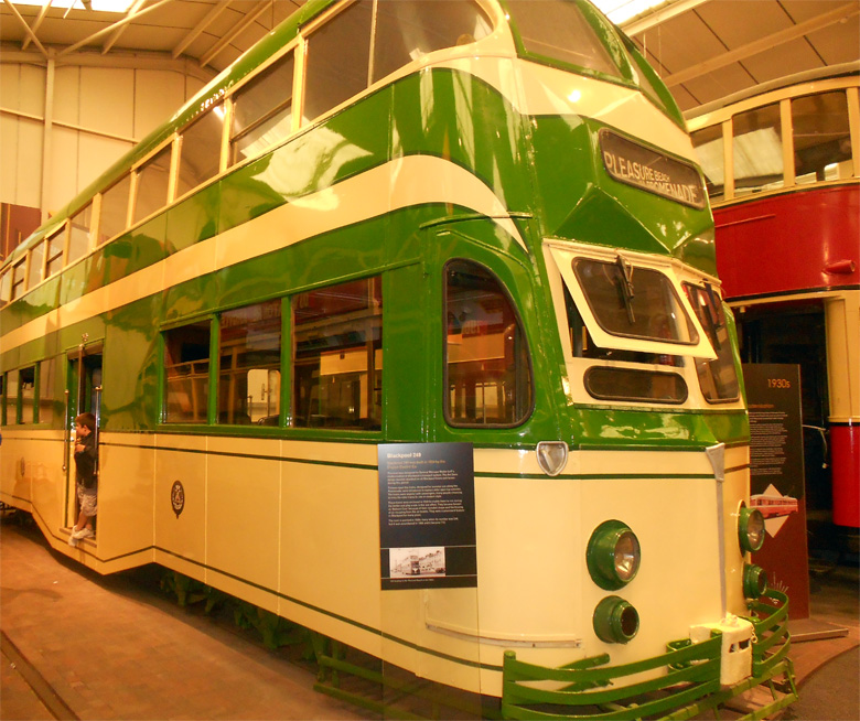 1934. Tram Blackpool 249. Exhibit at Crich Tramway Museum.