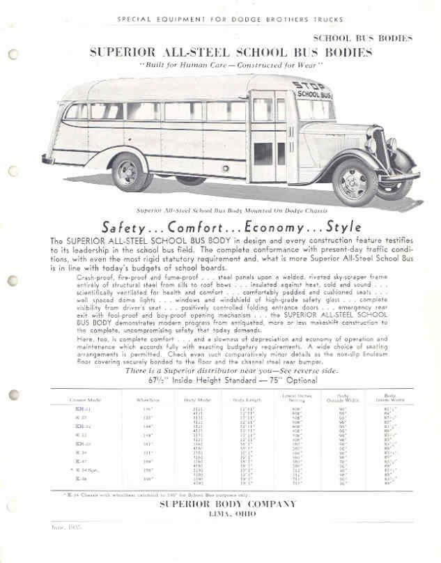 1935 Dodge Superior School Bus Sales Brochure