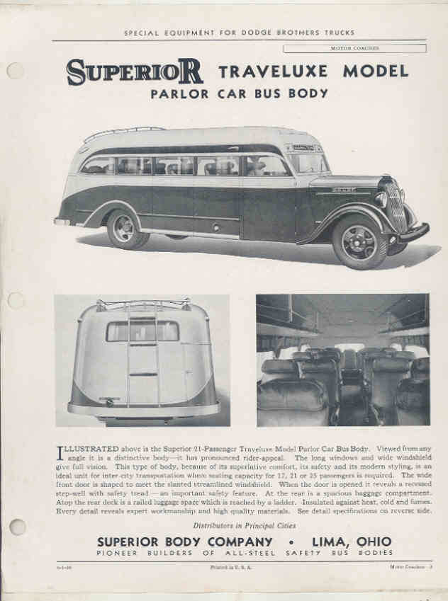 1936 Dodge Superior Parlor Intercity Bus Brochure