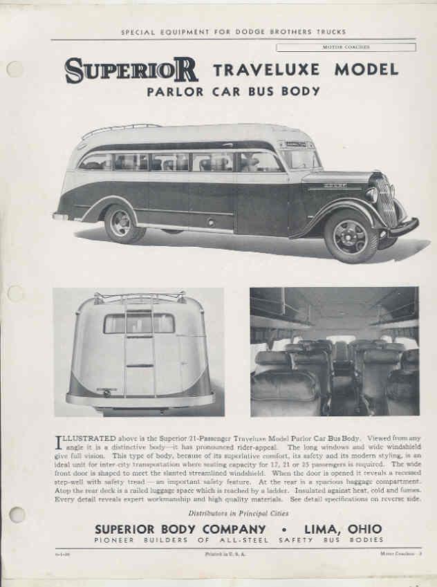 1936 Dodge Superior Parlor Intercity Bus Brochure