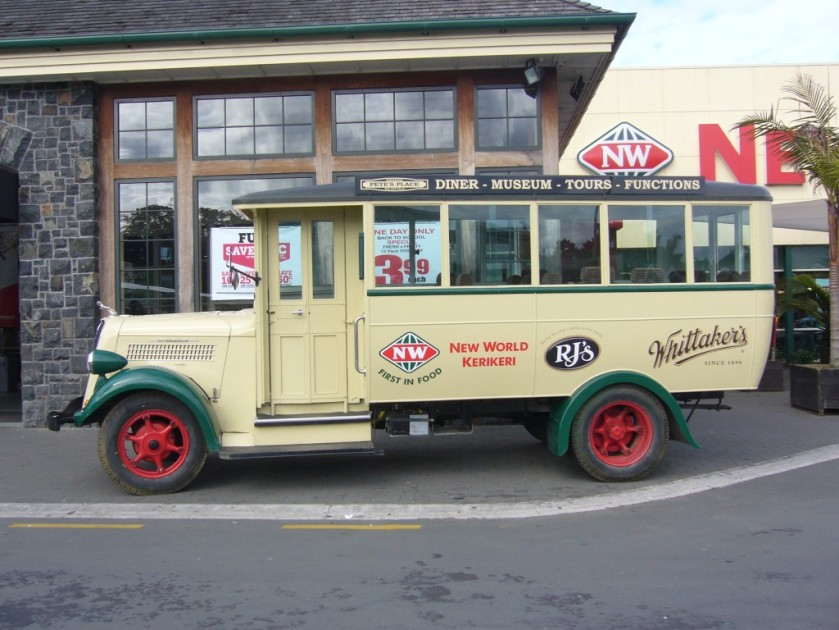 1936 Studebaker bus in front of New World in Kerikeri  New Zealand