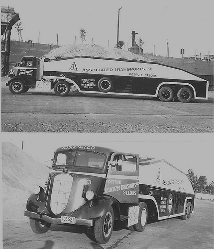 1936 Studebaker COE with a W&K semi-enclosed car hauler