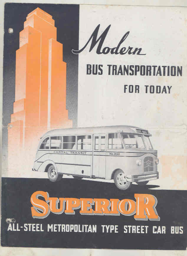 1936  Superior Metropolitan Streamline Street Car Transit Bus Brochure