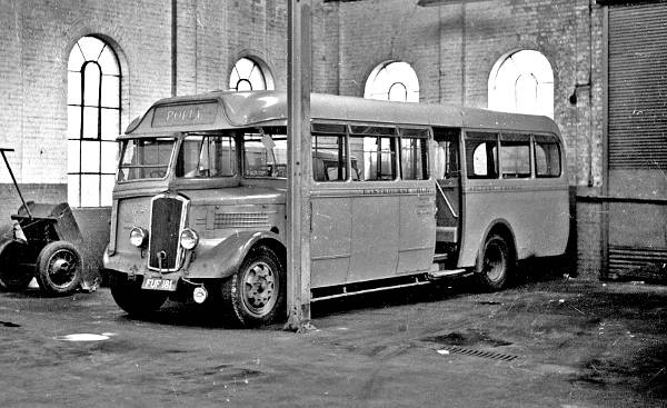 1939 Dennis single decker Polly,and is parked in the Eastbourne garage. It was one of a pair of Dennis Falcons with Harrington B30C bodywork