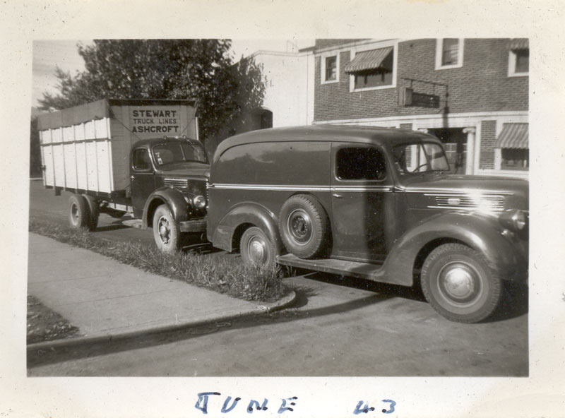 1941 Ford panel truck and a Stewart Truck Lines International from Ashcroft, BC