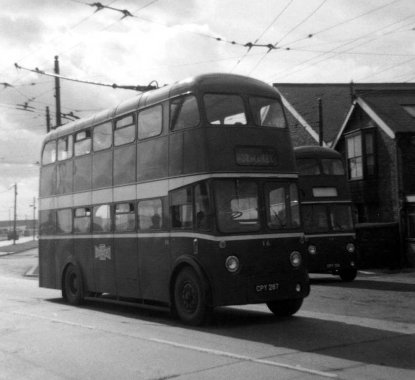 1944 56-seat Sunbeam S4 trolleybuses, four of which were bodied by Roe and four by Weymann. Car 16, CPY287, was one of the Roe-bodied examples