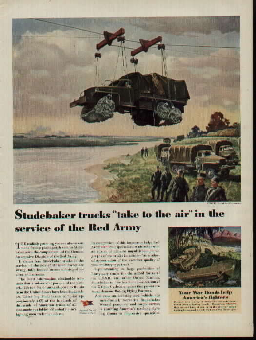 1945 Studebaker AD, Red Army flies Studebaker Trucks over river