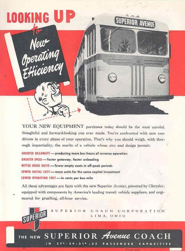 1946 Superior Avenue Coach Transit Bus Ad