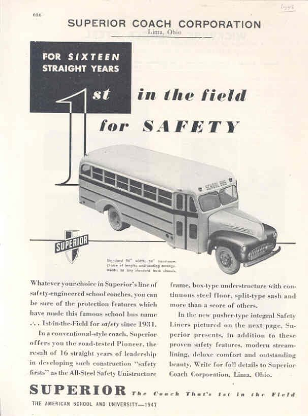 1947 Superior School Bus Ad Wickwire Spencer Fence